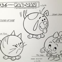 Pac-Man Cartoon: Pac-Baby, Chomp-Chomp & Sour Puss Close-Up Size sketch