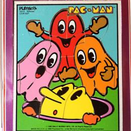 "Playskool No. 360-2 woodboard 18-piece puzzle ""Look Out!"" in original cardboard tray."