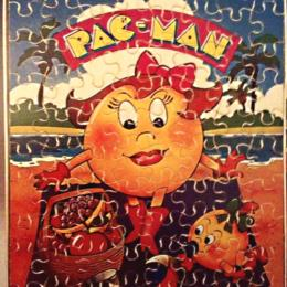Milton Bradley 80 piece genuine wood Ms. Pac-Man Puzzle with original box