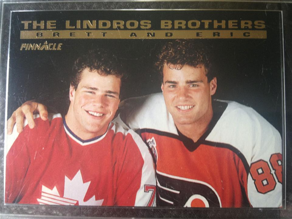 Eric Lindros 1993 Pinnacle The Lindros Brothers Card