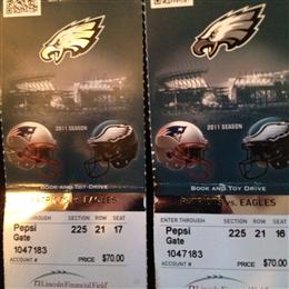 Eagles Vs Pats Tickets From Nov 11. Pats won btw