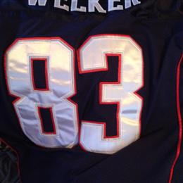 Back of Wes Welker Super Bowl Jersey