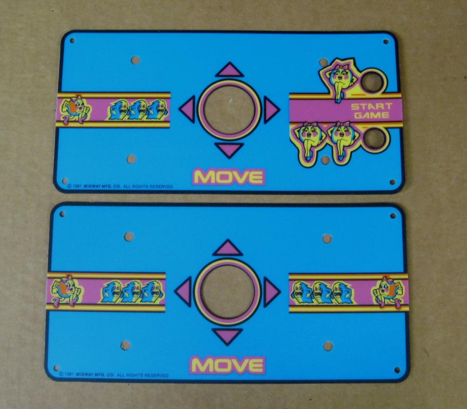 Picure of ms pac man cocktail arcade game control panel overlay set