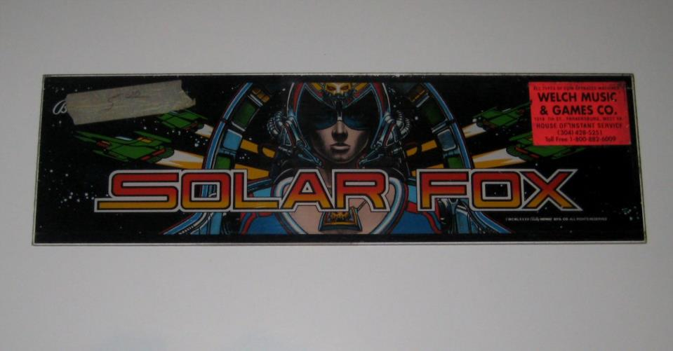 Picure of [Bally Midway Solar Fox Mini Cabaret Arcade Game Marquee]